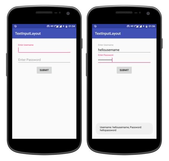 Tutorialwing Android TextInputLayout Output of textinputlayout using kotlin example