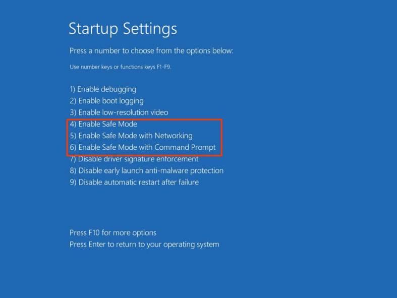 Windows 10 start in Safe Mode options