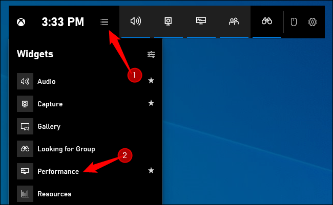 How to activate the performance widget in Windows 10
