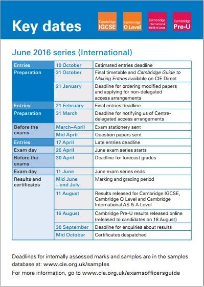Key dates card helps you to remember important deadlines for CIE