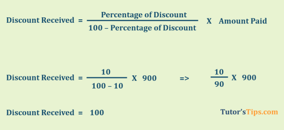 Discount Received calculation
