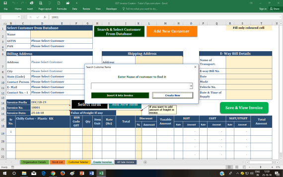 Select Customer GST Invoice Format - GST Invoice Format | Download Free Dynamic Excel sheet