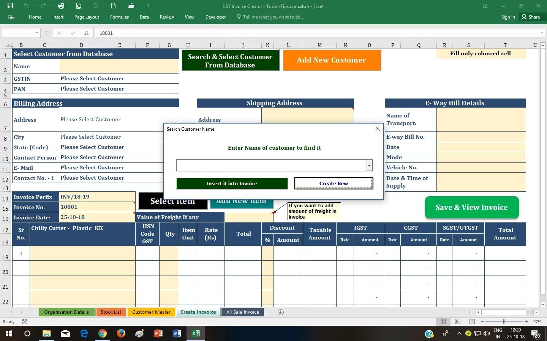 Gst Invoice Format Download Dynamic Excel Sheet Tutorstips