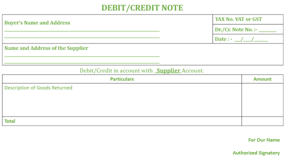 Debit- Credit Note Format
