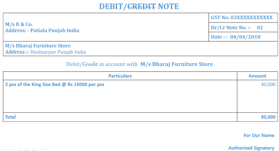 Debit- Credit Note No. 2