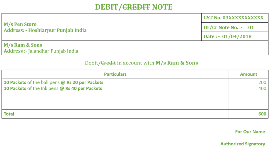 Debit Note No. 01