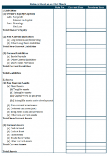 Balance Sheet Format based on Permanence - Vertical
