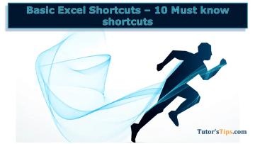 Basic Excel Shortcut Keys - Microsoft Excel Tutorial - Shortcut Key and Formulas