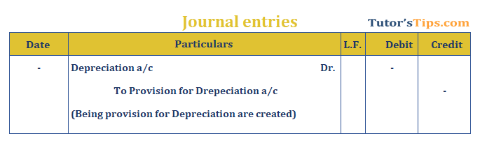 Journal Entry for provision for Depreciation