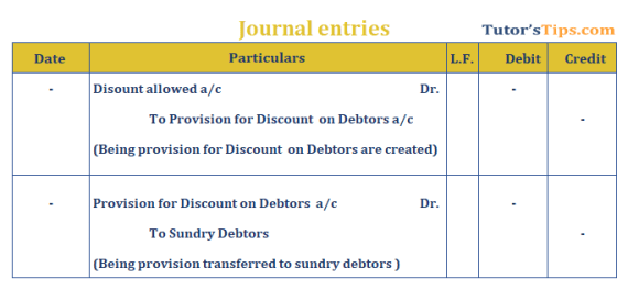 Provision in Accounting Journal Entry for provision for discount to debtors - Provision in accounting: Meaning, Types, Treatment