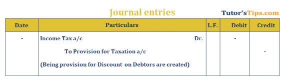 Provision in Accounting Journal Entry for provision for taxation - Provision in accounting: Meaning, Types, Treatment