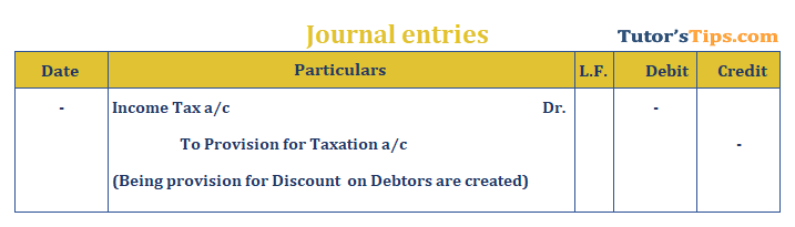 Journal Entry for provision for taxation
