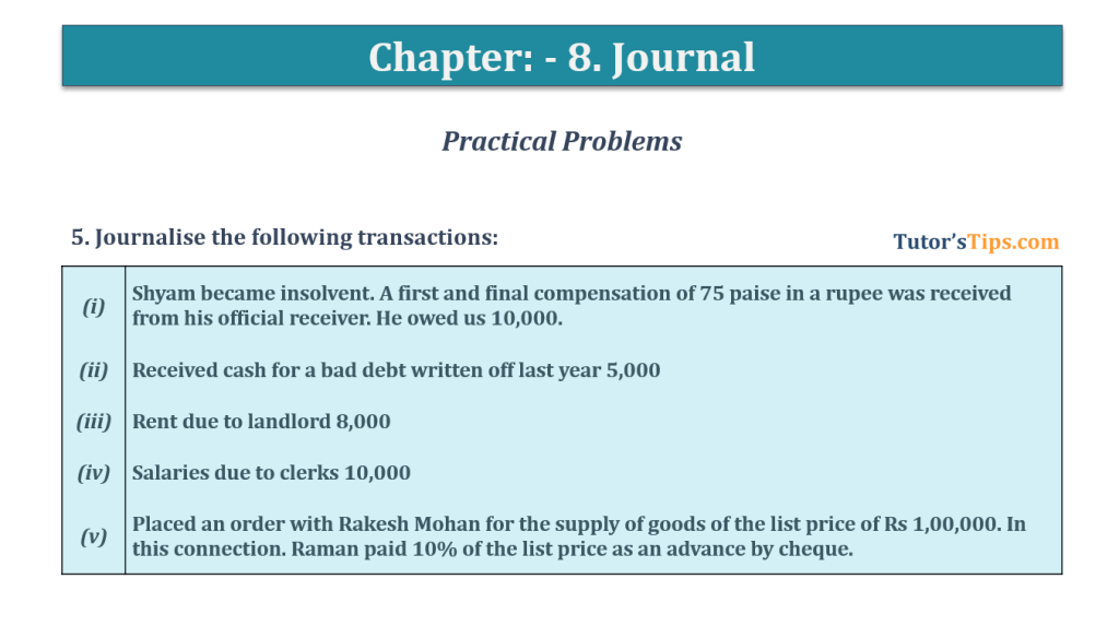 Question No. 5 - Chapter No.8 - T.S. Grewal +1 Book 2019