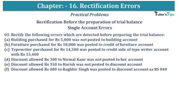 Q 03 CH 16 USHA 1 Book 2020 Solution min - Chapter No. 16 - Rectification of Errors- USHA Publication Class +1 - Solution
