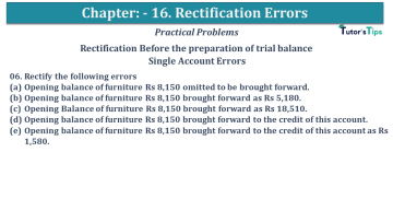 Q 06 CH 16 USHA 1 Book 2020 Solution min - Chapter No. 16 - Rectification of Errors- USHA Publication Class +1 - Solution