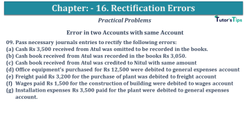 Q 09 CH 16 USHA 1 Book 2020 Solution min - Chapter No. 16 - Rectification of Errors- USHA Publication Class +1 - Solution