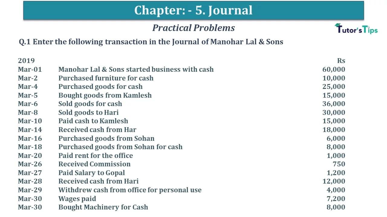 Q 01 CH 5 D.K Goal 1 Book 2020 Solution min - Chapter 5 Books of Original Entry – Journal - D K Goel -(Class 11 - ICSE) - Solution