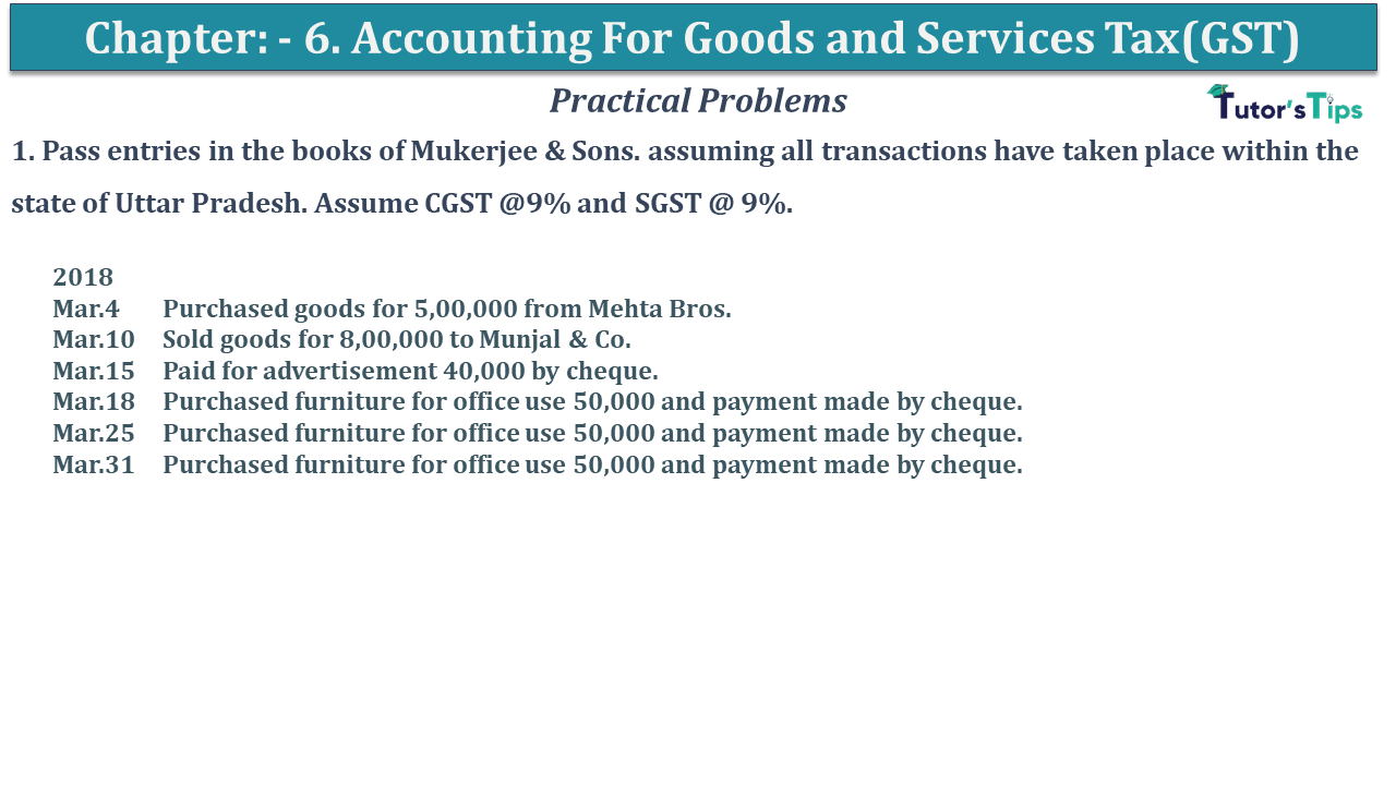 Q 01 CH 6 D.K Goal 1 Book 2020 Solution min - Chapter 6 - Accounting for Goods and Services Tax(GST) - D.K. Goel -(Class 11 - ICSE)- Solution