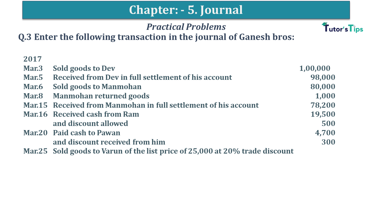 Q 03 CH 5 D.K Goal 1 Book 2020 Solution min - Chapter 5 Books of Original Entry – Journal - D K Goel -(Class 11 - ICSE) - Solution