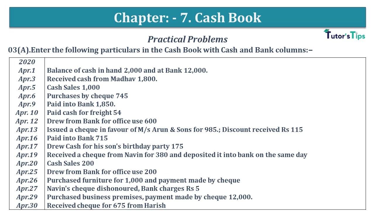 Q 03A CH 7 D.K Goal 1 Book 2020 Solution min - Chapter 7 Books of Original Entry – Cash Book - D.K. Goel -(Class 11 - ISC)- Solution