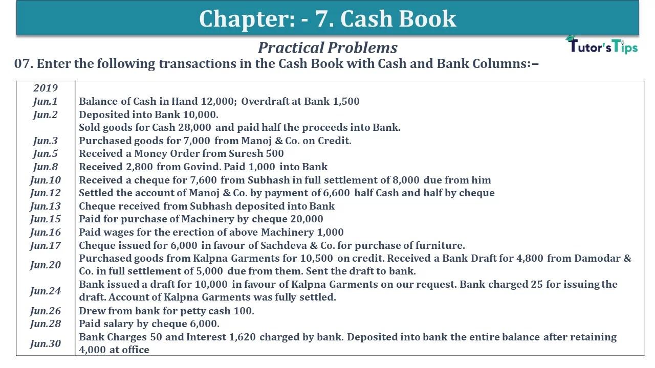 Q 07 CH 7 D.K Goal 1 Book 2020 Solution min - Chapter 7 Books of Original Entry – Cash Book - D.K. Goel -(Class 11 - ISC)- Solution