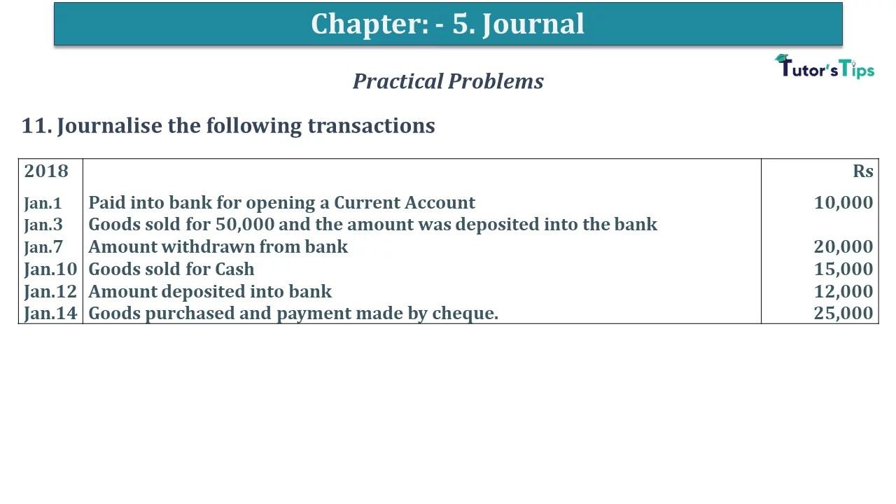 Q 11 CH 5 D.K Goal 1 Book 2020 Solution min 1 - Chapter 5 Books of Original Entry – Journal - D K Goel -(Class 11 - ICSE) - Solution