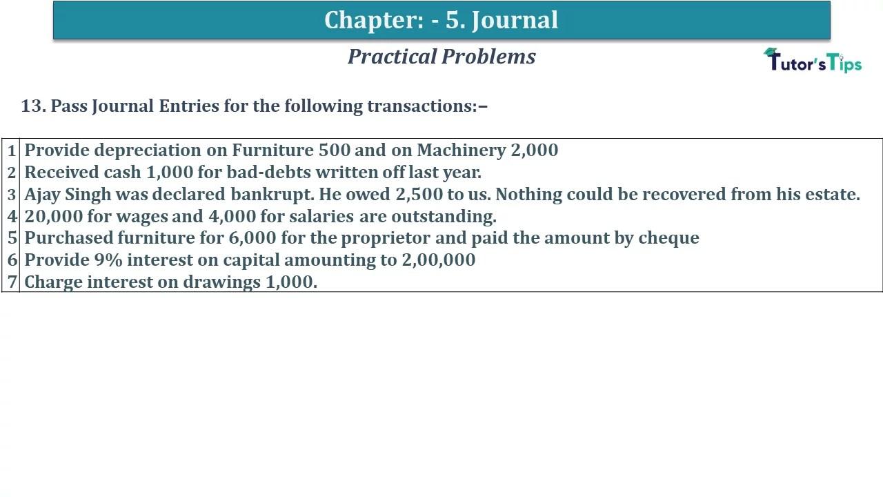 Q 13 CH 5 D.K Goal 1 Book 2020 Solution min - Chapter 5 Books of Original Entry – Journal - D K Goel -(Class 11 - ICSE) - Solution