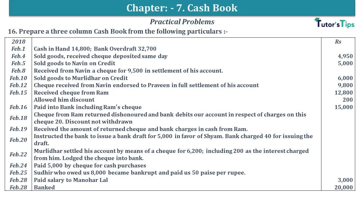 Q 16 CH 7 D.K Goal 1 Book 2020 Solution min - Chapter 7 Books of Original Entry – Cash Book - D.K. Goel -(Class 11 - ISC)- Solution