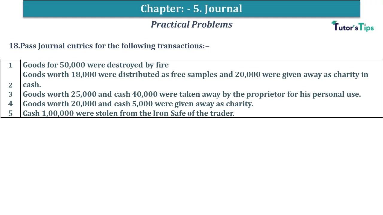 Q 18 CH 5 D.K Goal 1 Book 2020 Solution min - Chapter 5 Books of Original Entry – Journal - D K Goel -(Class 11 - ICSE) - Solution