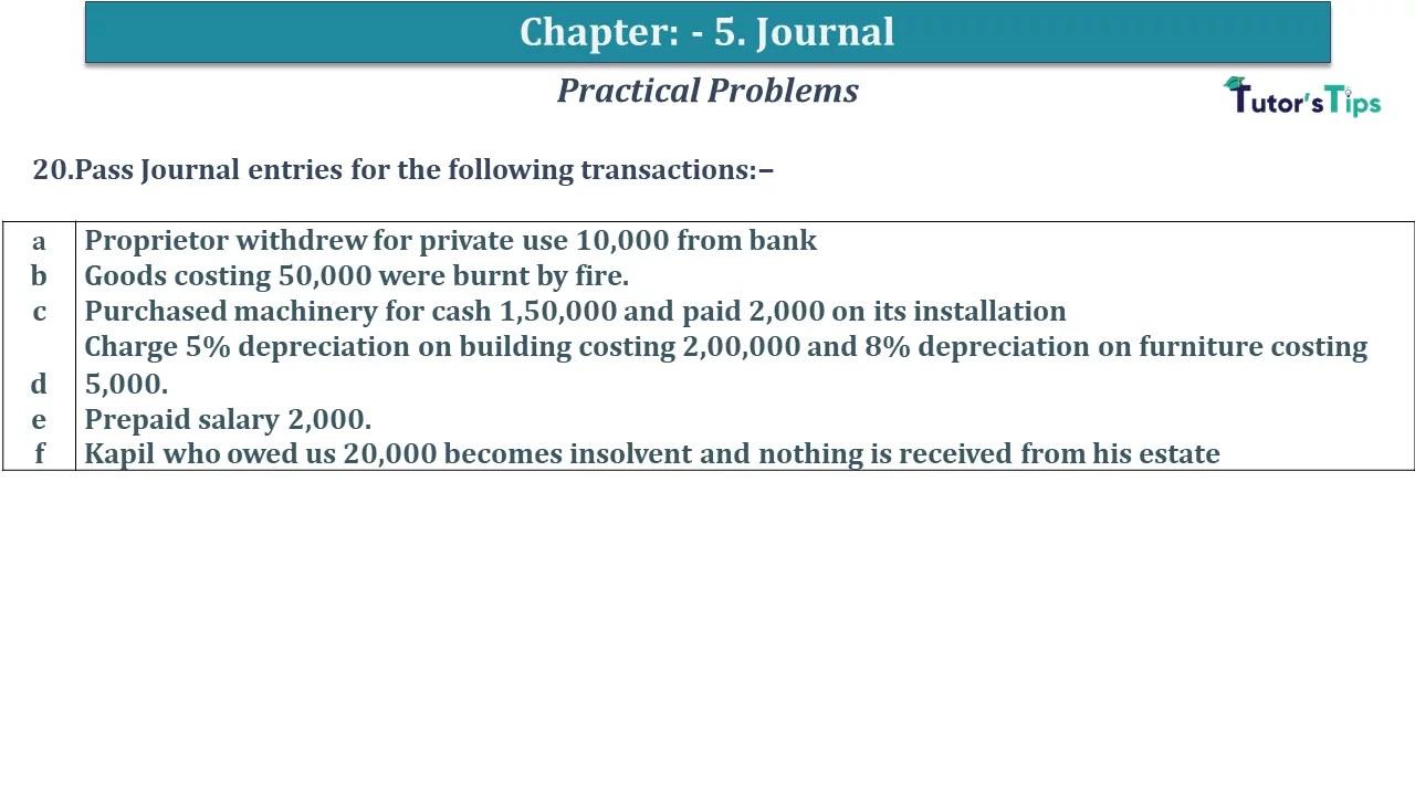 Q 20 CH 5 D.K Goal 1 Book 2020 Solution min - Chapter 5 Books of Original Entry – Journal - D K Goel -(Class 11 - ICSE) - Solution