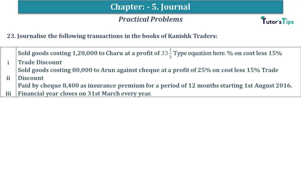 Q 23 CH 5 D.K Goal 1 Book 2020 Solution min - Chapter 5 Books of Original Entry – Journal - D K Goel -(Class 11 - ICSE) - Solution