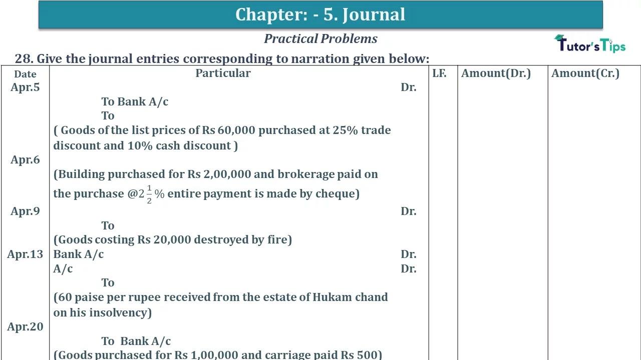 Q 28 CH 5 D.K Goal 1 Book 2020 Solution min - Chapter 5 Books of Original Entry – Journal - D K Goel -(Class 11 - ICSE) - Solution
