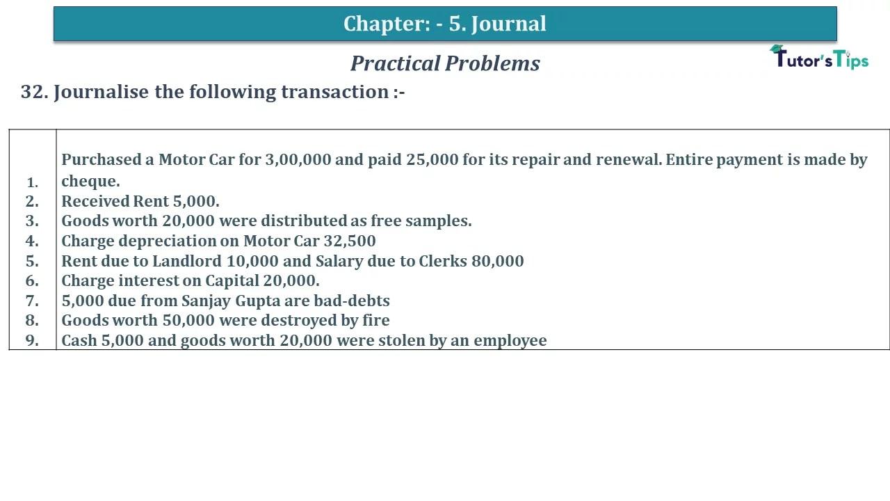 Q 32 CH 5 D.K Goal 1 Book 2020 Solution min - Chapter 5 Books of Original Entry – Journal - D K Goel -(Class 11 - ICSE) - Solution