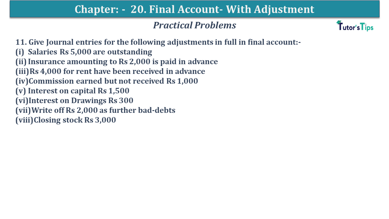 Question No 11 Chapter No 20