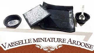 Tuto FIMO miniature : vaisselles imitation ardoise – Polymer Clay Tutorial