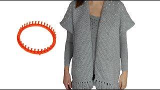 Tricotin – Poncho Gilet loose avec perles / Loom Knitting