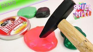 Intelligente Knete mit Hammer zerschlagen | Wie viel Schläge hält Knete aus? | Demo
