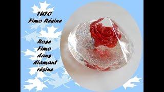 TUTO FIMO RESINE : Rose rouge dans diamant résine