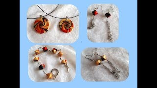 TUTO FIMO : PARURE PERLES SWIRL Pendentif, boucles d'oreilles, bracelet.