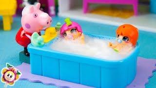 PEPPA PIG et la routine du soir des bébés PINYPON! Les bébés ne veulent que jouer et pas dormir!