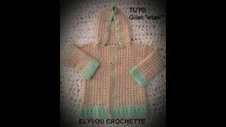 TUTO crochet : Paletot «Etan», gilet, avec capuche 18 mois