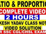RATIO AND PROPORTION COMPLETE VIDEO SSC[RAKESH YADAV CLSS NOTES VIDEO SOLUTION]ALL Q.NO IN ONE VIDEO