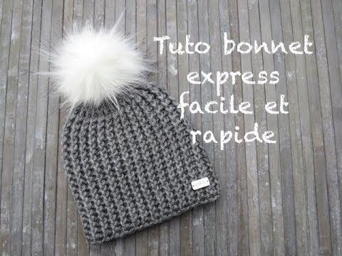 TUTO BONNET EXPRESS AU CROCHET FACILE Easy hat crochet GORRO PUNTO FACIL CROCHET