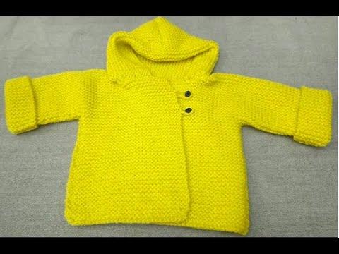 Gilet paletot en une pièce au tricot pour bébé de 6 mois