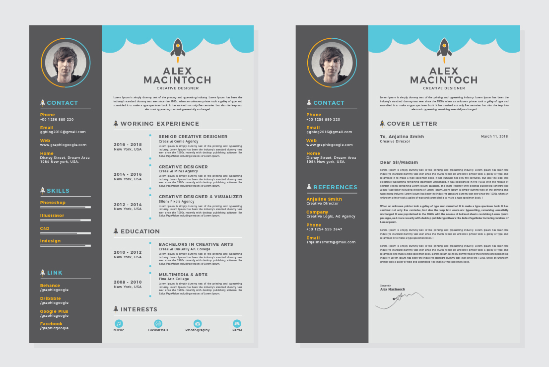 Free Creative CV-Resume Design Template With Cover Letter