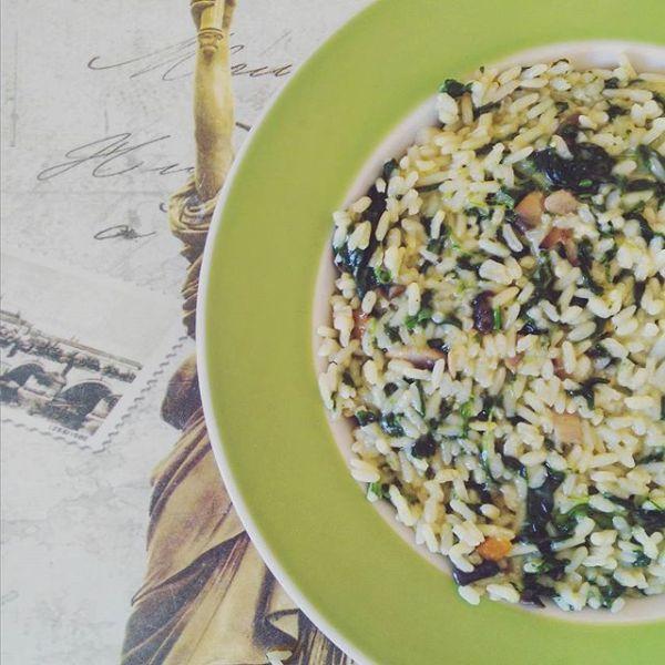 risotto funghi spinaci light ricetta