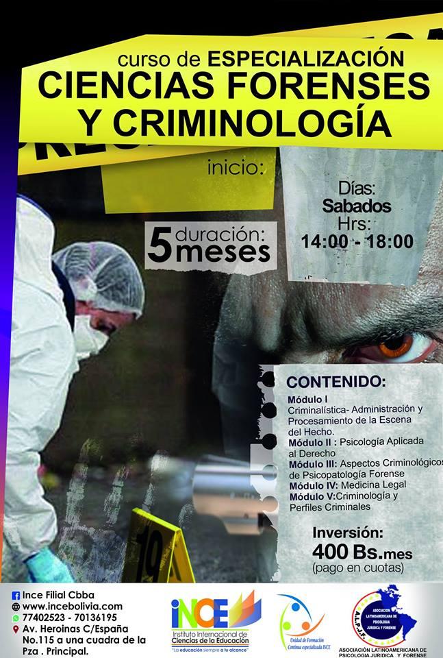 Curso de especialización en ciencias forenses y criminologia.