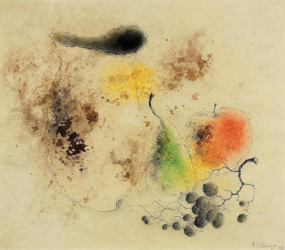 Nature morte aux fruits, 1926, aquarelle, pastel et encre sur papier, 40 x 46 cm, collection privée