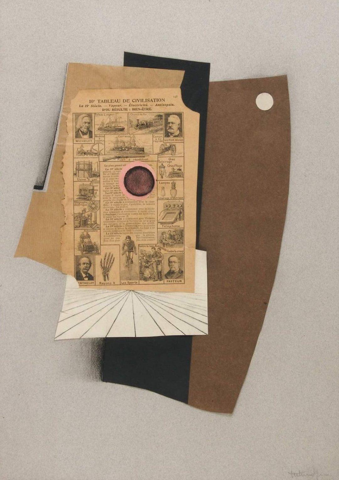 Sans titre (ou Tableau de civilisation) c.1925-1926, collage et encre sur papier, 46 x 32,5 cm, collection privée