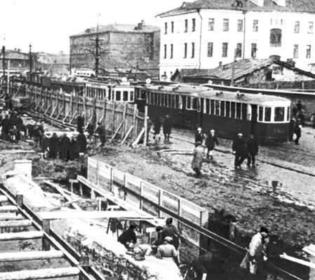 Строительство первой очереди Московского метрополитена, между 1932 и 1934